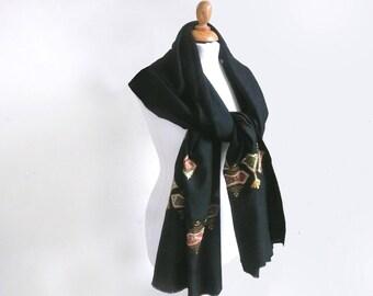 Embroidered wool shawl - Aar-kay shawl - Indian wool pashmina - pure new wool shawl - black wool shawl - huge wool wrap - black wool throw