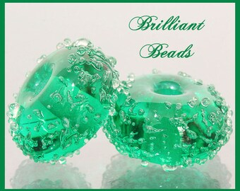 Emerald Green Sugared Glass Bead Pair - Handmade Lampwork Beads SRA, Made To Order
