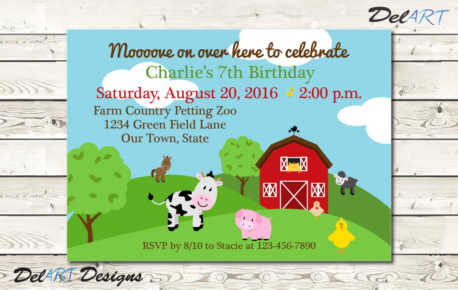Farm House Theme Invitation or Save the Date Birthday Party
