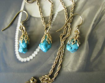 Vintage Gold Plated Turquoise Necklace and Earring Set Southwestern Jewelry