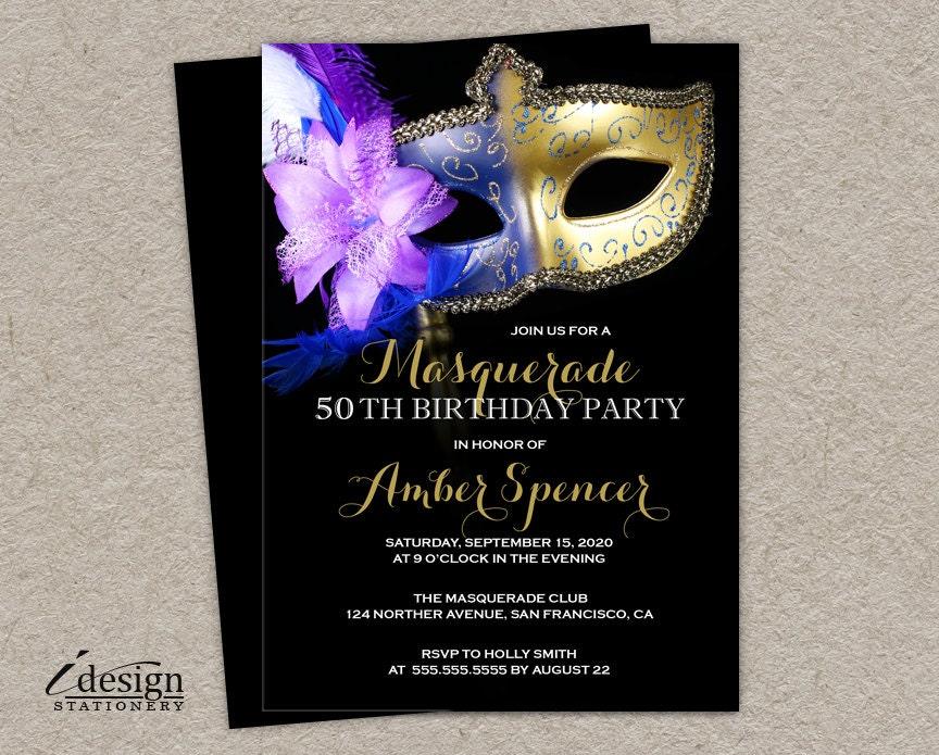 Masquerade 50th Birthday Party Invitation DIY Printable Mardi