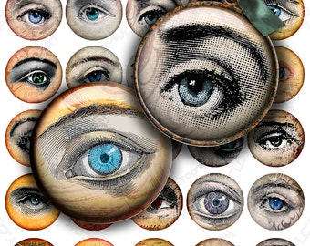 Digital collage sheet EYES images 1.5 inch circle - for pendants charms bottlecup pins hang tags craft - instant download - tn294