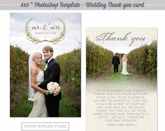 Photoshop Template - Wedding Thank you Card - INSTANT DOWNLOAD