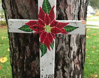 Red Poinsettia Reclaimed Wood Cross