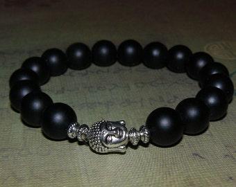 Buddha Matte Black Onyx Unisex Bracelet