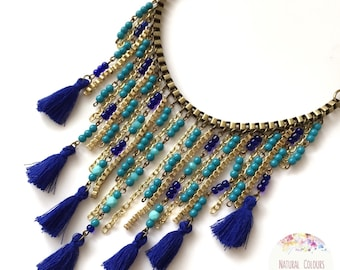 Boho Necklace Tassel necklace Statement Necklace Blue Necklace Short Necklace Bohemian Necklace Hippie Necklace Ibiza Style Boho Chic