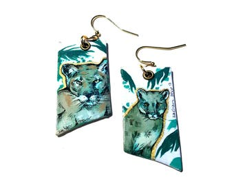 TROPICAL Palm Tree Puma - hand-painted big cat cougar charm earrings