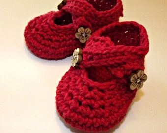Baby shoes, Crochet two strap baby booties, red booties CHOOSE YOUR SIZE, made to order