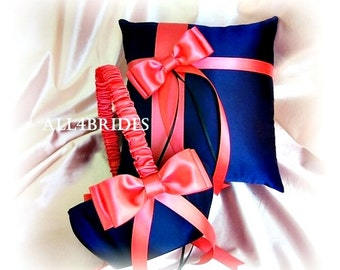 Wedding Flower Girl Basket and Ring Bearer Pillow, Navy Blue and Coral wedding accessories ceremony decor