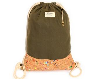 Ochos | Olive-Green Cork Sack Bag
