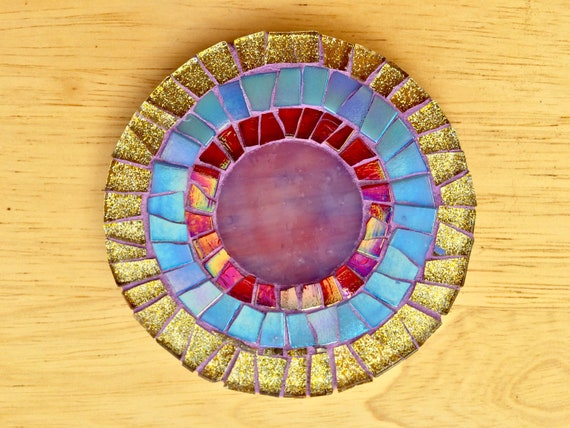 Handmade glass round gold and blue mosaic coaster Unique gift idea Living room decor Gift for her