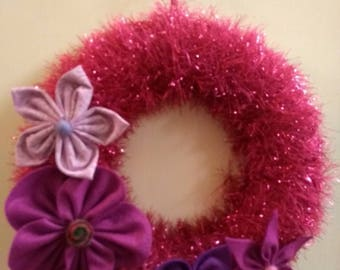 Sparkly pink garland/wreath with handsewn felt & fabric flowers