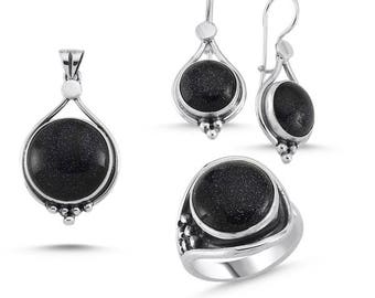 Sterling Silver Hand Made Set with Blue Goldstone: Ring, Earrings and Pendant