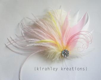 SHIP READY Ivory Pink Yellow Ostrich Feather Wedding Bridal Bride Bridesmaid Iridescent Rhinestone Fascinator MARQUELLE Hair Clip Hairpiece