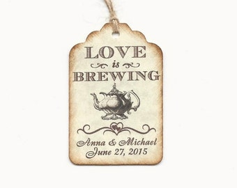 LOVE is BREWING Personalized Handmade Tags-Wedding Wish Tags-Coffee/tea tags-Favor tags