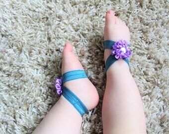 Mermaid Green Purple Flower Baby Barefoot Sandals