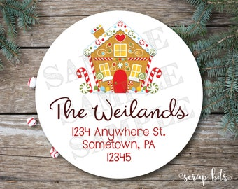 Gingerbread House Address Labels, Gingerbread House Labels, Return Address Labels, Holiday Address Labels, Christmas Stickers, Envelope Seal