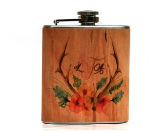 Bridesmaids gift Unique personalized wood flask - Gift cowgirl, country girl