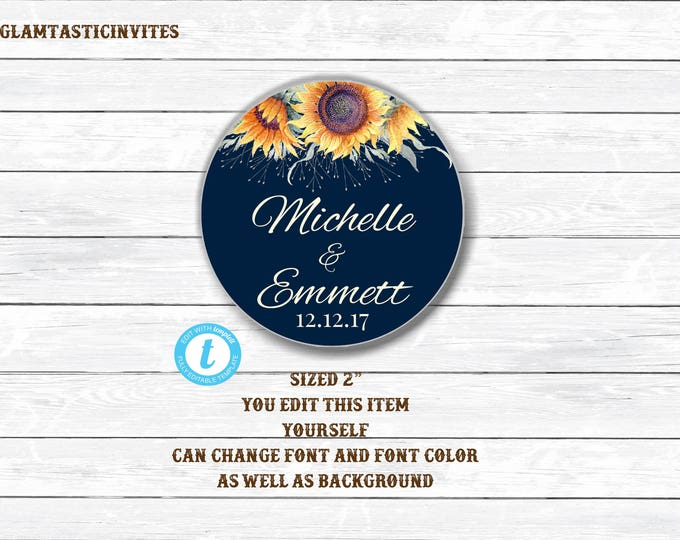 Wedding Tags, Editable Wedding Tags, You Edit, Wedding Favor Tags, Wedding Cupcake Toppers, Editable cupcake Toppers, Template, Sunflower