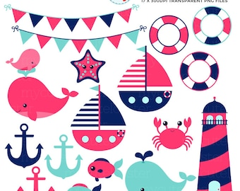 Girl's Nautical Clipart Set - clip art set of boats, whale, lighthouse, anchor, fish - personal use, small commercial use, instant download