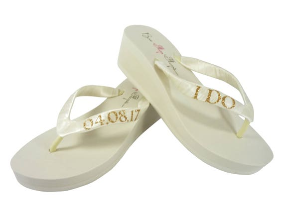 Date the Wedding Do or amp; Flops I White Bride Wedge Glitter for Ivory and Flip Ivory Gold x1wqSZUvU