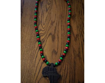 Black Africa on Mix of RBG Beads Necklace