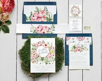 Floral Wedding Invitation, Navy Wedding Invitation, Wedding Invites, Printable, Watercolor Wedding, Rustic Wedding invitation, Boho