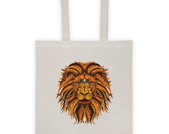 Lion Mandala Tote Bag - Represent Your Buddhist, Hinduism Spirituality, and Embrace Your Inner Sprituality
