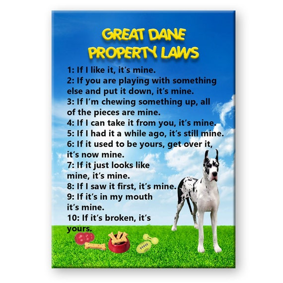 Great Dane Property Laws Fridge Magnet No 2 Harelquin