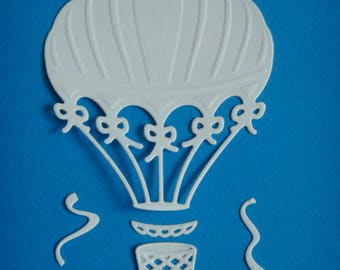 Hot air balloon cutting and its accessories made of white drawing paper coloring even for scrapbooking and card