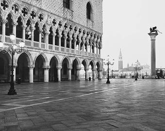 Venice Print, Venice Italy Wall Art, Black and White Photography, St Mark's Square, Travel Photography, Europe, Architecture Art