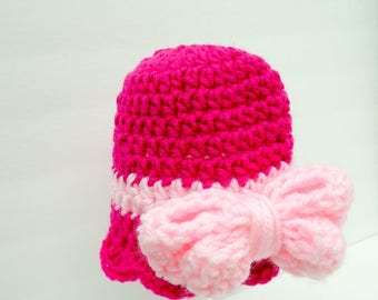 Baby Girl Hats, Bow Beanie, Pink Baby Hat, Double Thick Bow Bright Pinks