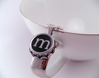 Vintage Typewriter Key Pendant Necklace Letter M with 18 Inch Ballchain