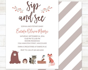 Woodland Sip and See Invitation, Woodland Animals Welcome Baby Invitation, Woodland Invite, Woodland Baby Shower, Forest Baby Shower