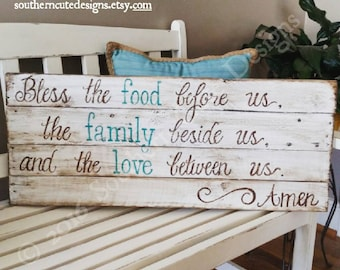 Bless The Food Before Us Sign Wood Signs Sayings Dining Room