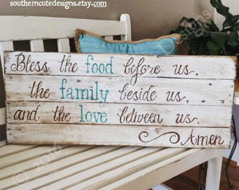 Bless The Food Before Us Sign, Wood Signs, Wood Signs Sayings, Dining Room
