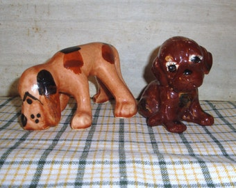 Hand Painted Ceramic Puppies - Vintage - Collectibles -  Figurines - Home Decor - Statues - Dogs