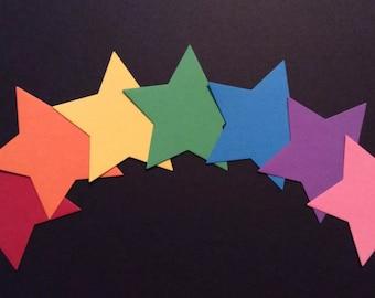 70 x 6.5cm Brightly Coloured Die Cut Stars