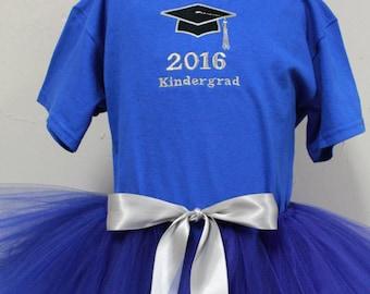 Kindergarten graduation outfit, Graduation ceremony, Graduation cap applique, Graduation shirt, Royal blue tutu, Girl tutu outfit