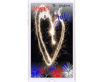CUSTOMIZABLE 4th of July Geofilter - Fireworks Red White and Blue