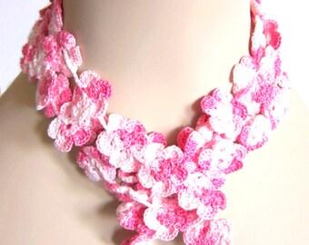 Floral Crochet Pattern - Cherry Blossom  Necklace Lariat Choker Headband - Fiber Art Jewelry