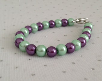 Purple and Mint Wedding Bracelet, Mint Pearl Bracelet, Purple and Mint Bridesmaid Jewelry, Pearl Bridal Jewelry, Purple Beaded Jewelry
