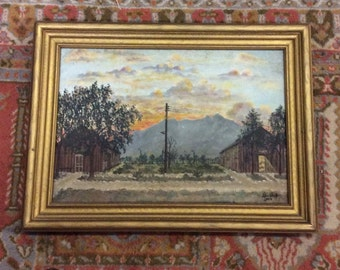 Vintage  Original Framed Oil Painting on Canvas of a Far West Texas Landscape, Mounted  on Board, Signed and Dated 1925