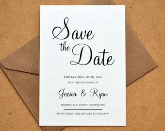 PRINTABLE Save the Date PDF - Personalised Calligraphy Script Black & White Wedding DIY Save the Date Digital Download Only