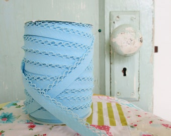 Baby Blue Crochet Edge Double Fold Bias  Tape (No. 46)