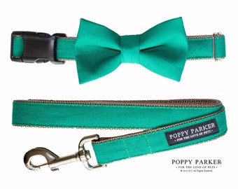 Dog Bow Tie - Emerald Green - Optional Matching Collar and Leash - Dog In Wedding