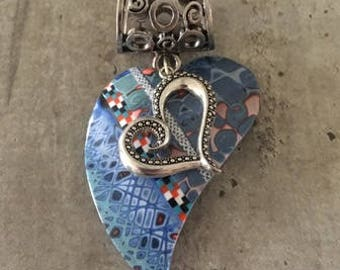 jewelry scarf with polymer clay pendant