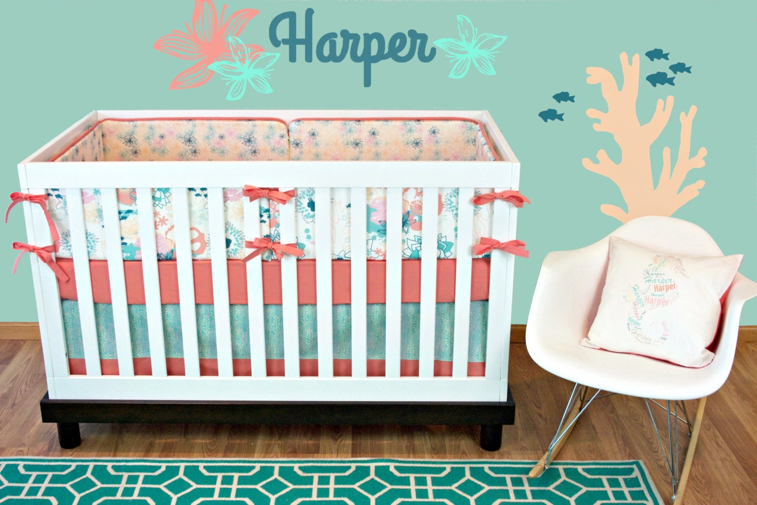 Girl Tribal Cribset Antler Cribset Coral Mint Girl Crib
