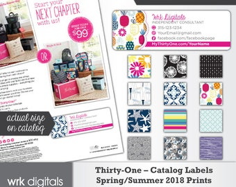 Thirty-One Catalog Labels, Thirty One Consultant, Spring/Summer 2018 Prints, Direct Sales, PRINTABLE