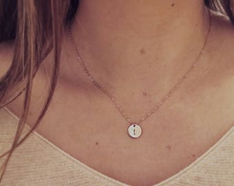 Rose Gold Round Hand Stamped Personalized Initial Jewelry Necklace Customize Pendant Blank